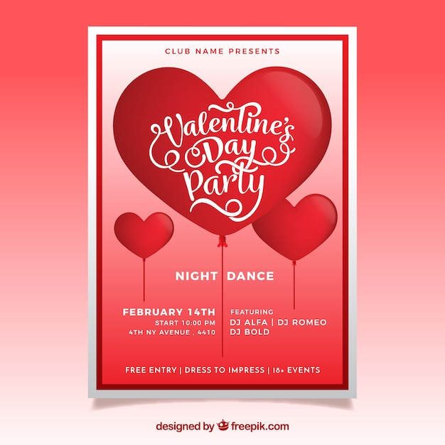 Realistic valentine\u0027s day flyer / poster Vector Free Download