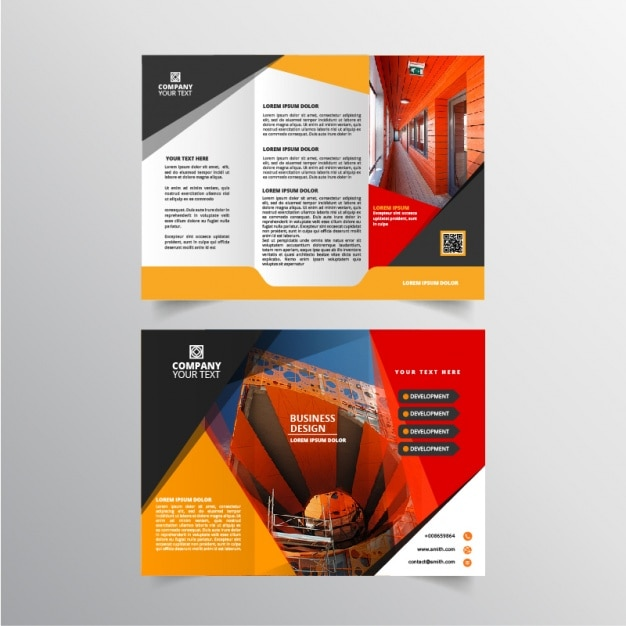 Orange Flyer with Circular Banners - Vector Picker