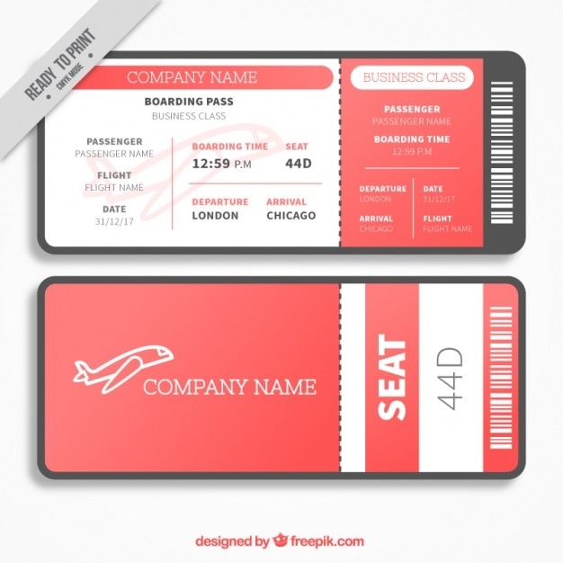 Red and white boarding pass template in flat design Vector Free - boarding pass template