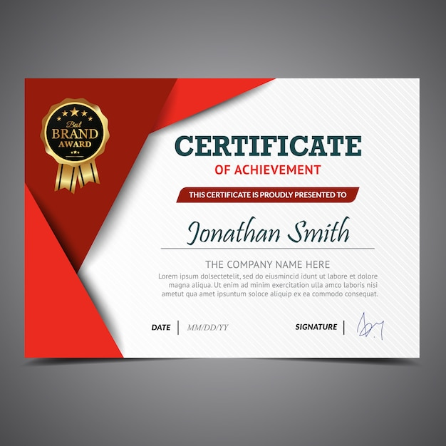 Red and white certificate template Vector Free Download