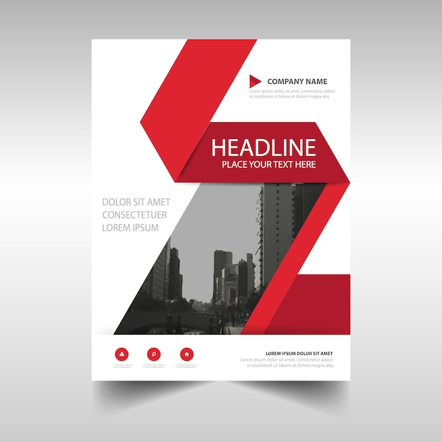 Red and white corporate brochure template Vector Free Download - Company Brochure Templates