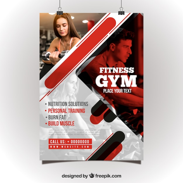 Red and white gym flyer template Vector Free Download