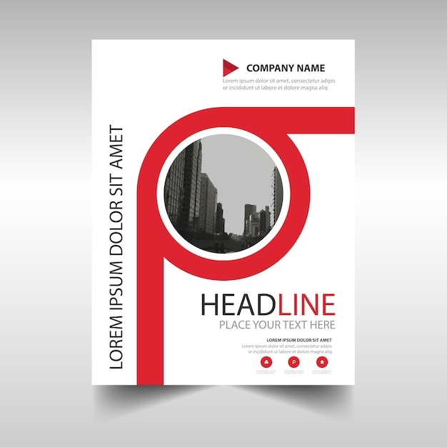 Red annual report book cover template Vector Free Download
