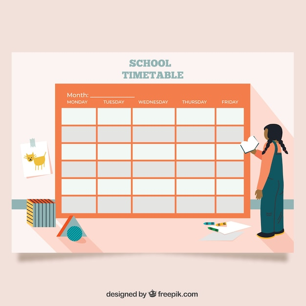 Red back to school timetable template Vector Free Download
