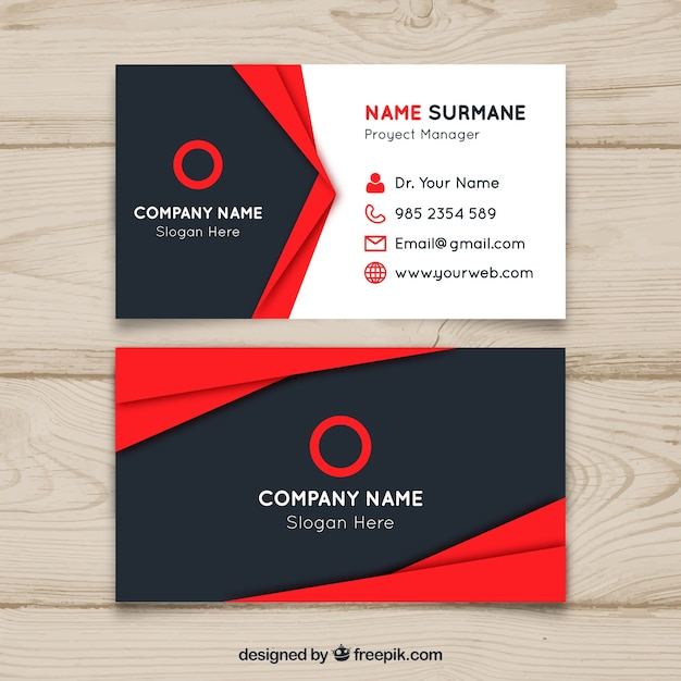 Red and black business card design Vector Free Download