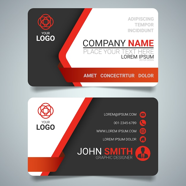 Red and black layout business card template Vector Premium Download