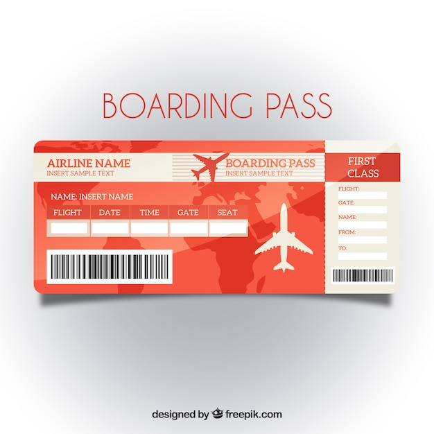 Red boarding pass template with map background Vector Free Download - boarding pass template