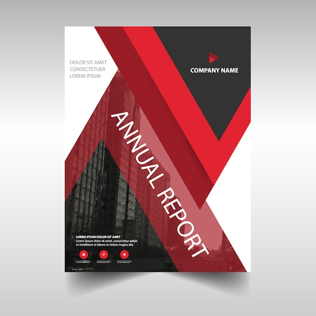 Red book cover template for annual report Vector Free Download