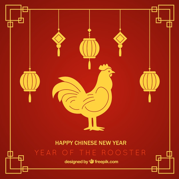 Red chinese new year background with lanterns and golden rooster