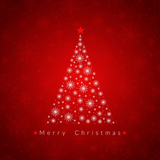 Red christmas tree background Vector Free Download