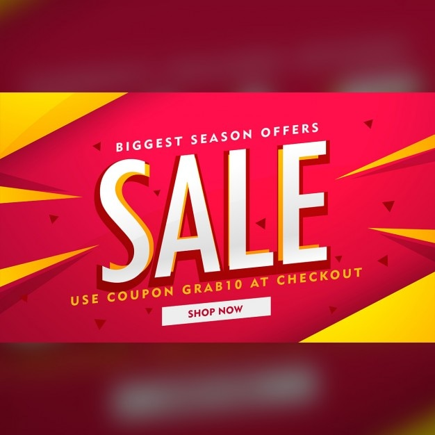 Red discount voucher with yellow geometric shapes Vector Free Download