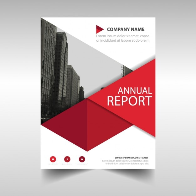 Red geometric annual report template Vector Free Download