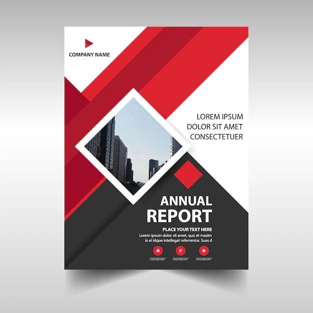 Red geometric corporate annual report template Vector Free Download - free annual report templates