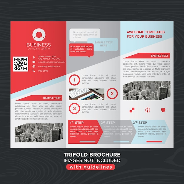 Red gray business trifold brochure layout template Vector Free