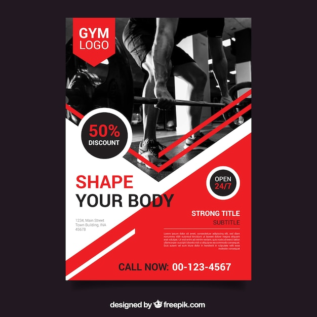 Red gym flyer template with image Vector Free Download - discount flyer template