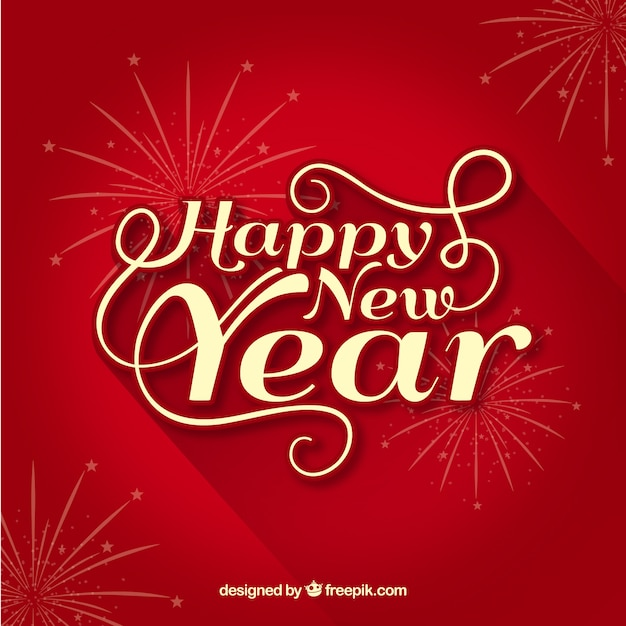 Red happy new year background Vector Free Download