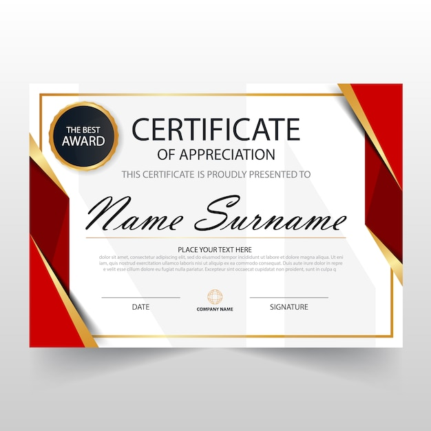 Red horizontal certificate template Vector Free Download - certificate templat