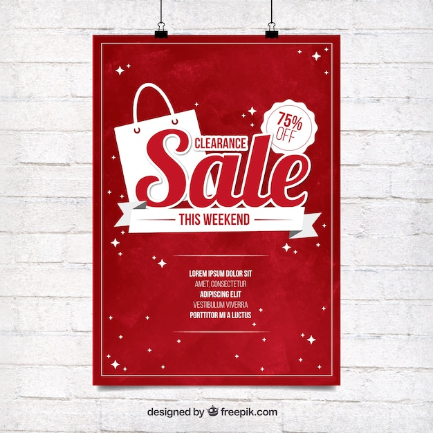 Red sale poster template Vector Free Download - for sale poster template