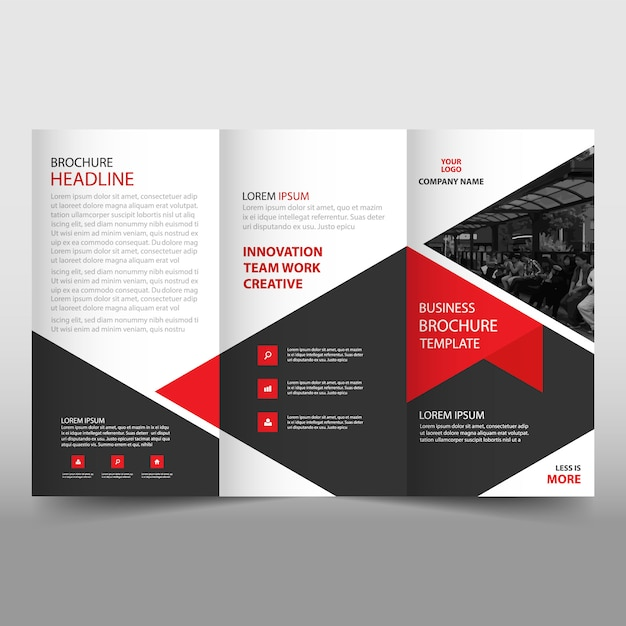 Red trifold leaflet template Vector Free Download