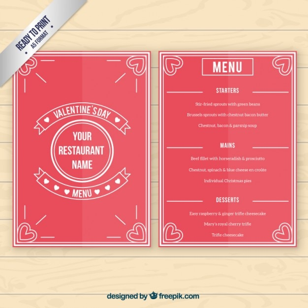 Red valentine day menu template Vector Free Download - valentines day menu template
