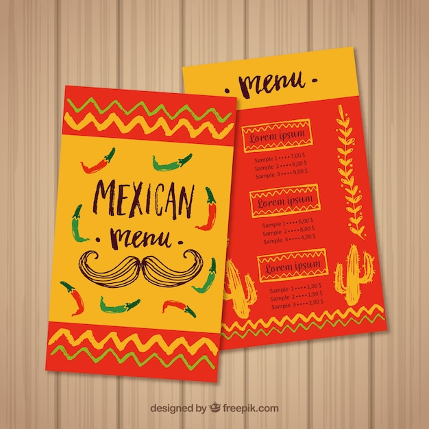 Red and yellow mexican food menu template Vector Free Download