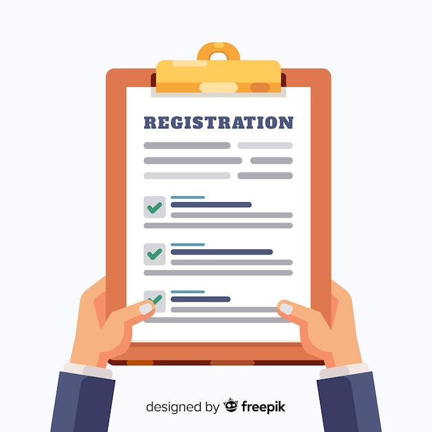 Registration form template with flat design Vector Free Download