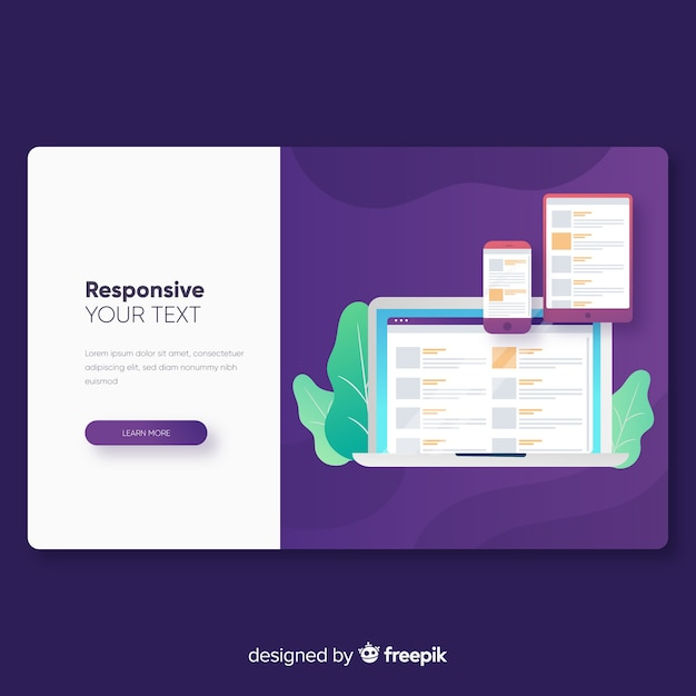 Responsive landing page template Vector Free Download