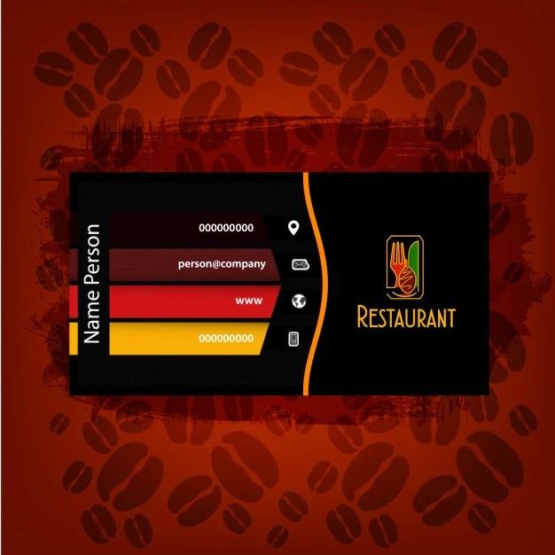 Restaurant business card design Vector Free Download