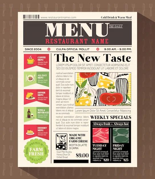 Restaurant menu design template in newspaper style Vector Premium - menu design template