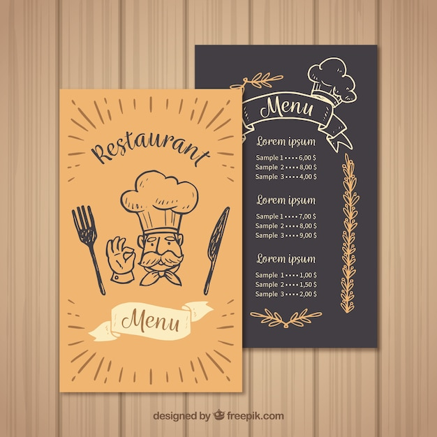 Restaurant menu template with chef Vector Free Download - sample menu template