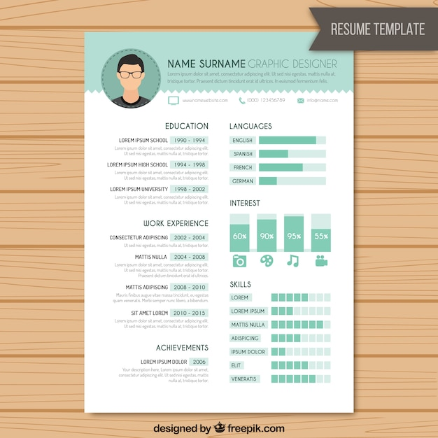 Resume graphic designer template Vector Free Download - web design resume