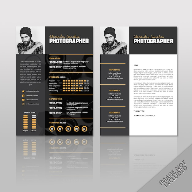 Resume Photographer Black Vector Premium Download