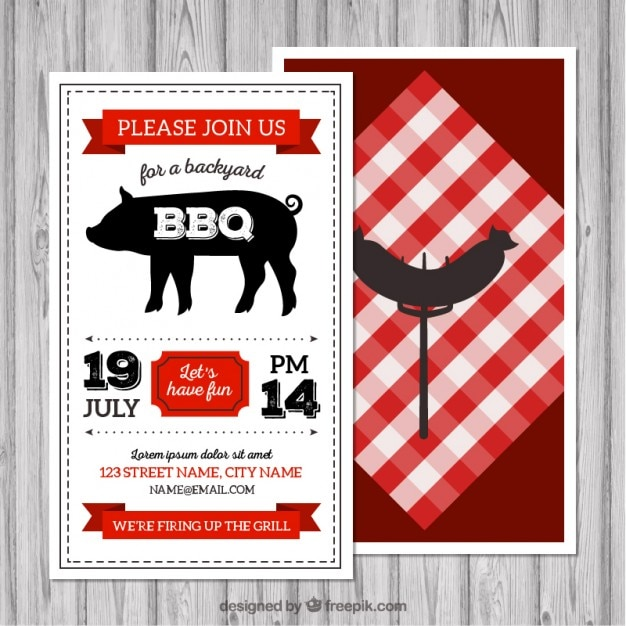 Retro bbq flyer Vector Free Download - bbq flyer