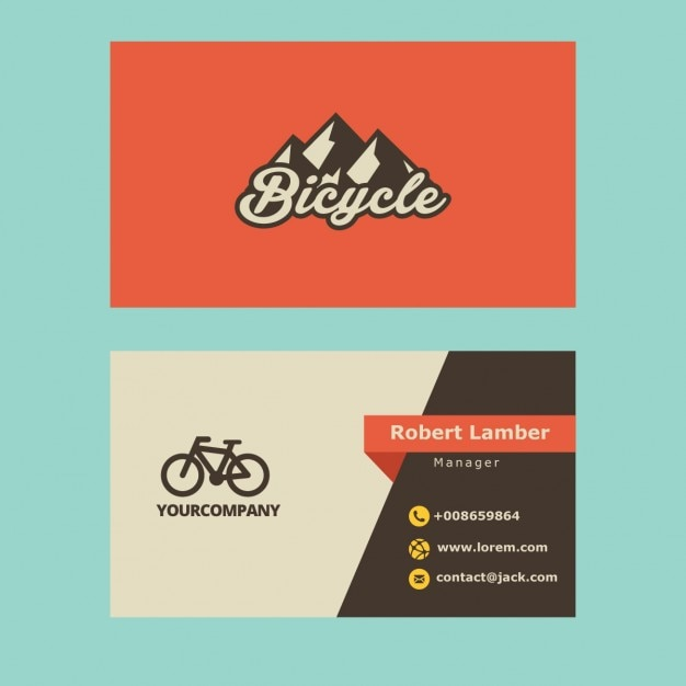 Retro business card with bicycle logo Vector Free Download