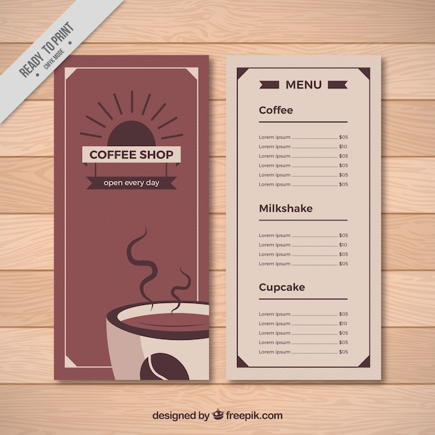 Retro cafe menu template Vector Free Download - Cafe Menu Template