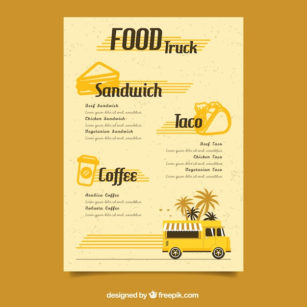 Retro food truck menu template Vector Free Download - food truck menu template