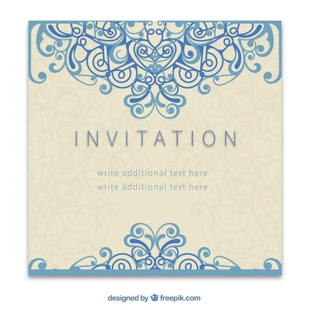 Retro invitation in ornamental style Vector Free Download