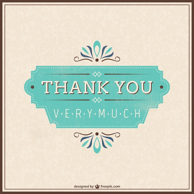 Retro thank you card Vector Free Download - free thank you card template
