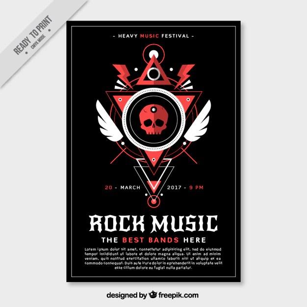 Rock music brochure Vector Free Download