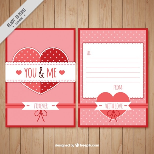 Romantic love letter template Vector Free Download