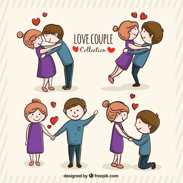 65 Cute Valentines Wallpapers Collection Romantic Young Couple In Different Postures Vector Free