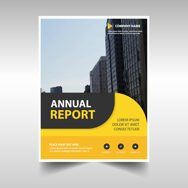 Rounded yellow abstract corporate annual report template Vector - free annual report templates