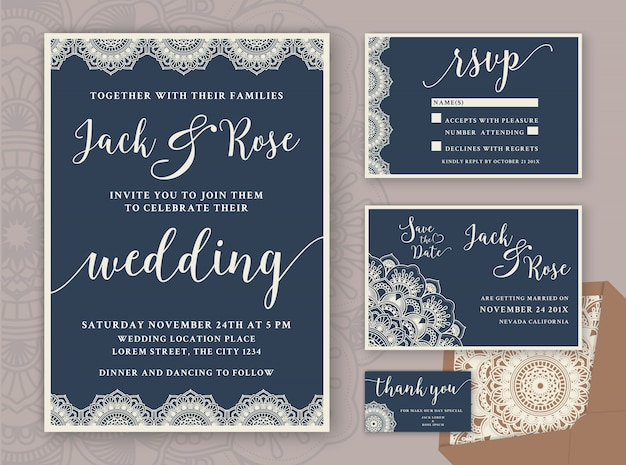 Rustic Wedding Invitation Design Template Include RSVP card, Save