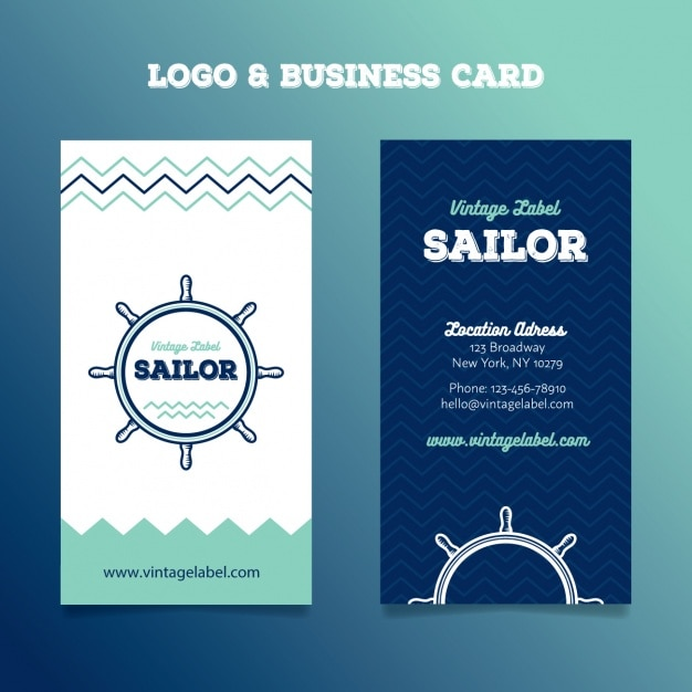 Sailing logo and business cards Vector Free Download