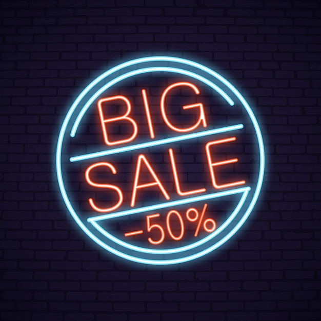 Sale neon lettering in circle with product Vector Premium Download