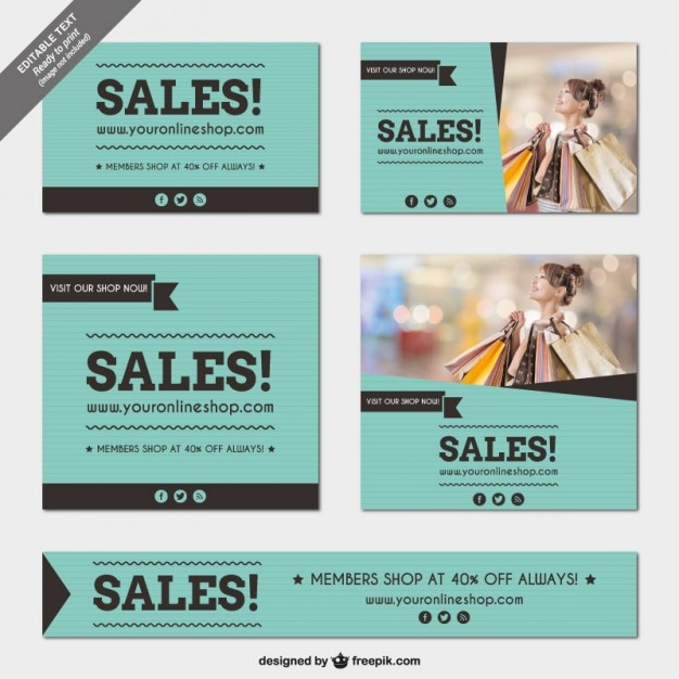 Sales banners templates pack Vector Free Download