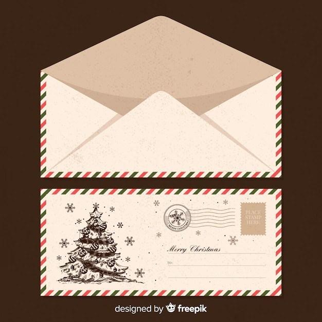 Santa claus vintage envelope template Vector Free Download