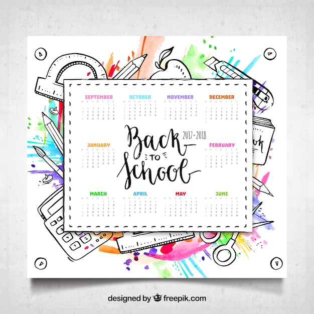 School calendar with materials and watercolor style Vector Free - school calendar