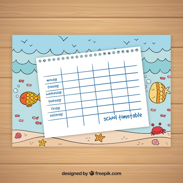 School timetable template ocean theme Stock Images Page Everypixel