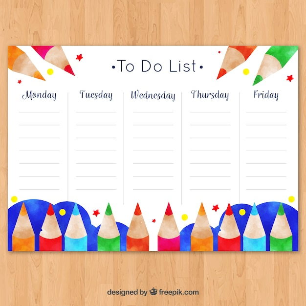 School timetable template to organize Vector Free Download